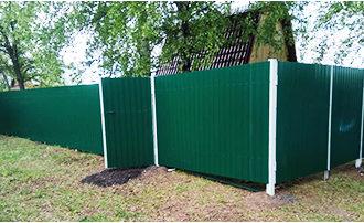 Забор из профнастила 12 соток, Фото, №8, Забор  из профнастила  2,5 метра