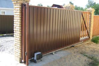 Откатные ворота из штакетника, Фото, №9, Откатные ворота  4 метра