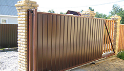 Забор из профнастила с откатными воротами, Фото, №2