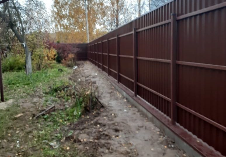 Забор из профнастала на ленточном фундаменте, Фото, №3