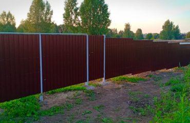 Забор из коричневого профнастила, Фото, №1
