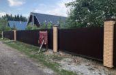 Забор из коричневого профнастила, Фото, №14
