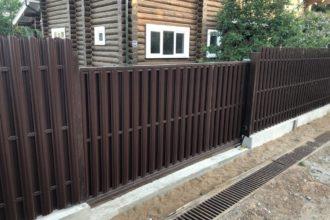 Забор из штакетника с откатными воротами, Фото, №2