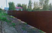 Забор из коричневого профнастила, Фото, №12