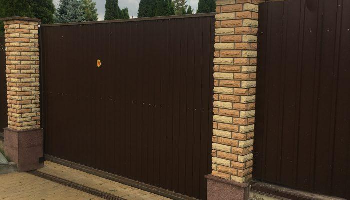 Забор из коричневого профнастила, Фото, №16