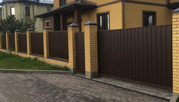 Забор из одностороннего профнастила, Фото, №11