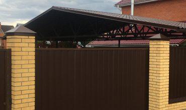 Забор из коричневого профнастила, Фото, № 16